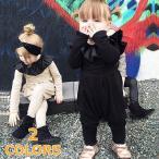 オールインワン つなぎ カバーオール 長袖 フリル 秋冬 赤ちゃん ベビー キッズ 子供 ベビーウェア 女の子 女児 シンプル カジュアル 可愛い か