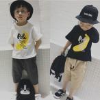 Tシャツ 半袖 ラウンドネック 子供用 トップス カットソー プリントTシャツ バナナ 英字 カジュアル シンプル キッズ 男の子 男児 女の子 女児