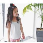 タンクトップ キッズ ジュニア 子ども 女児 女の子 レディース カジュアル シンプル ノースリーブ ポケット かわいい 重ね着 トップス パステルカ