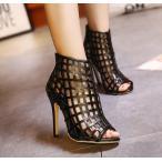ショッピングブーツサンダル ブーツサンダル ブーサン ピンヒール ハイヒール メッシュデザイン バックファスナー オープントゥ レディース フェイクレザー 靴 美脚 歩きやすい