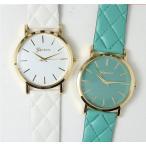 腕時計 カラバリ豊富 アナログ ゴールド キルティングベルト シンプル 可愛い 文字盤カラー 時計 レディース メンズ 男女兼用 ユニセックス フェイ