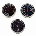 時計 車載時計 3個セット 温度計 湿度計 アナログ コンパクトクロック 車用時計 カーアクセサリー コンパクト スタンド クロック 車内温度 車内湿