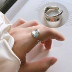 指輪 リング フリーサイズ アクセサリー レディース 女性用 オープンリング シルバー925 幅広 存在感 シンプル おしゃれ 贈り物 普段使い プレ