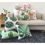 クッションカバー カバー 45 45 正方形 デザインカバー 両面タイプ フラミンゴ 花 植物 鮮やか カラフル きれい 単品 カバーのみ ジッパー開