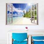 ウォールステッカー 壁紙シール シールタイプ 窓辺 窓枠 景色 風景 3D 立体的 海辺 ビーチ 青空 南国 美麗 壁シール トリックアート だまし絵