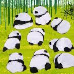 ワッペン 9種セット アップリケ パンダ 動物 手芸 クラフト DIY アイロン 接着 粘着 かわいい おしゃれ ホワイト