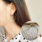 フープピアス 左耳用 片耳用 単品 アクセサリー レディース 女性用 シルバー925 オープンハート 大ぶり 揺れる ラインストーン 片側のみ 左のみ