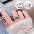 指輪 リング ハート フラワー ストーン 2連風 重ね付け風 きれい 可愛い レディース 女性 アクセサリー プレゼント