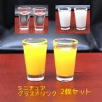 インテリアホビー ミニチュアグラス入りドリンク 2個セット ペア ドール用小物 ドールハウスアクセサリー オレンジジュース 牛乳 ミルク 水 お冷 お