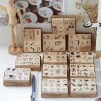 スタンプ セット はんこ かわいい 木 ウッド 文具 手帳 日記 DIY パンダ 熊 ベア ネコ 相撲 パン コーヒー 花 葉