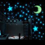 ウォールステッカー ウォールシール シール式 星 スター 月 ムーン 発光 蛍光 壁シール 壁紙シール 壁面装飾 壁装飾 室内装飾 インテリア