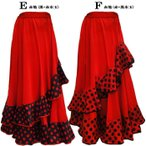 新色入荷!フラメンコスカート 裾水玉 斜め2段フリル&オーガンジーが豪華な定番人気ファルダ ミカドレス 6603-2