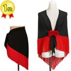 フラメンコ衣装 シージョ 黒×フリンジ赤 マントン ミカドレスcy267-sky5-black-red