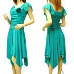 Mサイズ〜 Lサイズ  パーティードレス ワンピース 結婚式 ダンス衣装 ドレープ フレンチ袖 ひらひら ドレス ミカドレス D53-1 d53-1