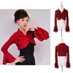 ダンス衣装 短いボレロ ダークレッド フラメンコ衣装 トップス 練習着 ウェア ダンス衣装 フリルいっぱい セール ミカドレス t18-darkred