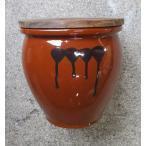 久松窯 漬物容器 丸壺3号  焼杉蓋付 5.4リットル 梅干し、味噌作り用。
