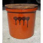久松窯 漬物容器 切立4号 焼杉蓋付 梅干し、味噌作り用
