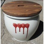 久松窯 漬物容器 丸壺3号(白) 焼杉蓋付 5.4リットル 梅干し、味噌作り用。
