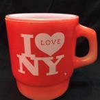 【アンカーホッキング社/ファイヤーキング】スタッキング I LOVE NY レッド ミルクガラス マグ