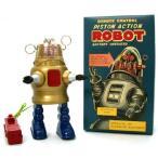 ◎ピストンアクション ロボット Piston Action Robot  【ゴールド】 ブリキ