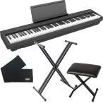 Roland ローランド FP-30X-BK ポータブルピアノ + 折りたたみスタンド + ピアノ椅子 + 鍵盤カバー セット
