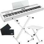 Roland ローランド FP-60X-WT ポータブルピアノ + 折りたたみスタンド + ピアノ椅子 + 鍵盤カバー セット