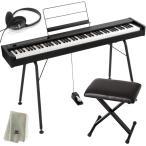 KORG 電子ピアノ D1 BK ブラック (88鍵) + 純正スタンド + ピアノ椅子 + ヘッドホン + 鍵盤カバー + クリーニングクロス セット