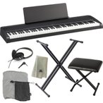 KORG 電子ピアノ B2 BK 88鍵 ブラック + X型スタンド + ピアノ椅子 + ヘッドホン + ダストカバー + クリーニングクロス