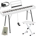 KORG 電子ピアノ D1 WH ホワイト (88鍵) + 純正スタンド + ピアノ椅子 + ヘッドホン + 鍵盤カバー + クリーニングクロス セット