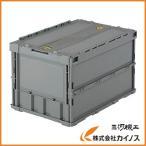 TRUSCO 薄型折りたたみコンテナ 50Lロックフタ付 グレー TR-C50B GY
