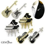 ブローチ レディース メンズ バイオリン ピアノ ギターラペルピン 楽器 音楽 KS48008