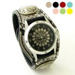 【送料無料】天然の蛇革を使用した本格レザー時計で金運アップ!
