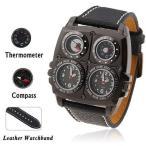 Oulm1140 デュアルタイムアナログ腕時計
