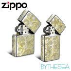 ギフトBOX付き ZIPPO ペアジッポー オイルライター 全面5面ハワイアン手彫り サテーナ仕上げ レギュラータイプ & スリムタイプ 真鍮 クロムメッキ