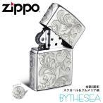 ハワイアンジュエリー メンズ Zippo ジッポ ジッポー ライター 全面5面彫り シルバー925 スクロール&プルメリア柄 fl102s