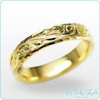 ハワイアンジュエリー リング 刻印無料 誕生石 名入れ 結婚指輪 マリッジリング 14Kゴールド オーダーメイド yf4a-c
