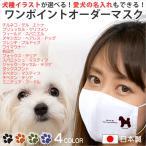 マスク 犬柄 ワンポイント 名入れ 子供用 の 小さいサイズ から 大人用 まで選べる3サイズ nikuQ-order-dog02 犬種パターン4 WebArts