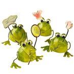 幸運をもたらす 4匹の小さな カエル プチ 置物 インテリア としても最高 ブリキで作られた かわいい 蛙 の  【送料無料】ctr-862