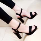 ヒールサンダルハイヒールレディースストームヒール痛くない脱げない靴黒ブラック美脚疲れにくいストラップ