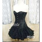 ミンティー minty小悪魔ブラックローズ♪黒薔薇刺繍に黒ボーンのオーバーバストコルセットXXXS〜XXLmillefeeミルフィー