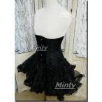 ミンティー minty小悪魔ブラックローズ♪黒薔薇刺繍に黒いダブルボーンのアンダーバストコルセットXXSXXL