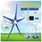 風力発電機 風力タービン発電機 6000W 12V 24V 5 ブレード 水平 風力発電機 家庭用 キャンプ用 コントローラ 充電