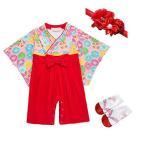 袴 ロンパース 和服 新生児 女の子 菊柄 ベビー用ロンパース 靴下1足 花飾り1枚 菊の節句 (茜色,95)
