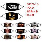 ゆうパケット 送料無料 2枚セット ハロウィン マスク 大人用 布マスク コスプレ ホラーマスク 仮装パーティー 耳紐調節可能 フィルター入り 成人用