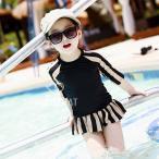 子供水着 キッズ 水着セット 子供用 女の子 水着 3点セット ラッシュガード 上下セット 日焼け対策 紫外線対策 ストライプ ブラック ピンク
