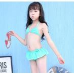 子供水着 ビキニ 2点セット 女の子 ガールズ 三角ブラ 可愛い プール 海 子供服 90-100、110-120