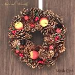 クリスマスリース リース 32cm 松ぼっくり Red Apple&Pine インテリア 装飾玄関 ギフト クリスマス Xmas Christmas