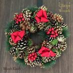 クリスマスリース 32cm 3色松ぼっくり リボン Pinecone Ribbon Wreath Mサイズ クリスマス Xmas Christmas