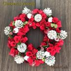 クリスマスリース まつぼっくり レッド ローズ 33cm Red Roll White Pine Wreath M