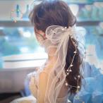 ヘッドドレス ウェディング 髪飾り チュール 人気 リボン ヘアアクセサリー ブライダル 結婚式 成人式 卒業式 リゾート 結婚アクセサリー ウェディングフォト